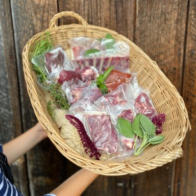 Large basket with goat meat cuts