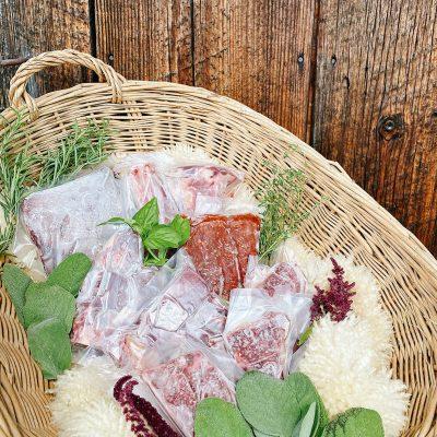 Basket with lamb cuts