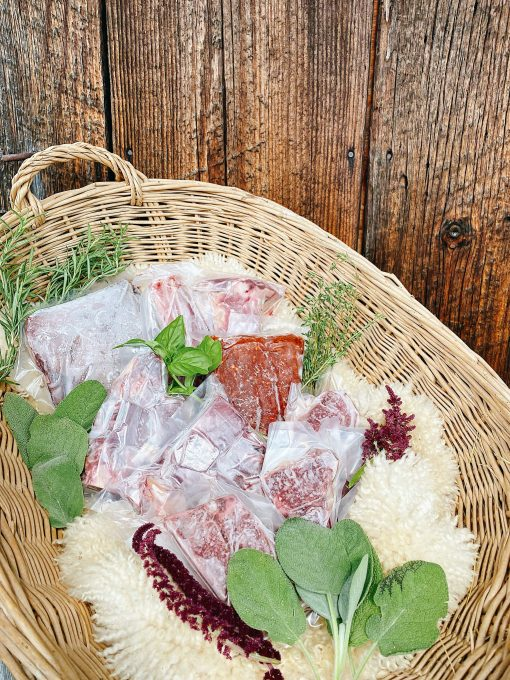 Basket with lamb cuts