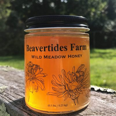 Beavertides Farm honey jar outside