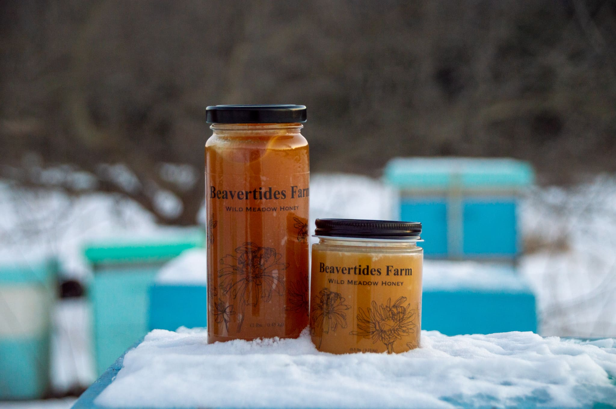Two jars of honey on beehive in the snow