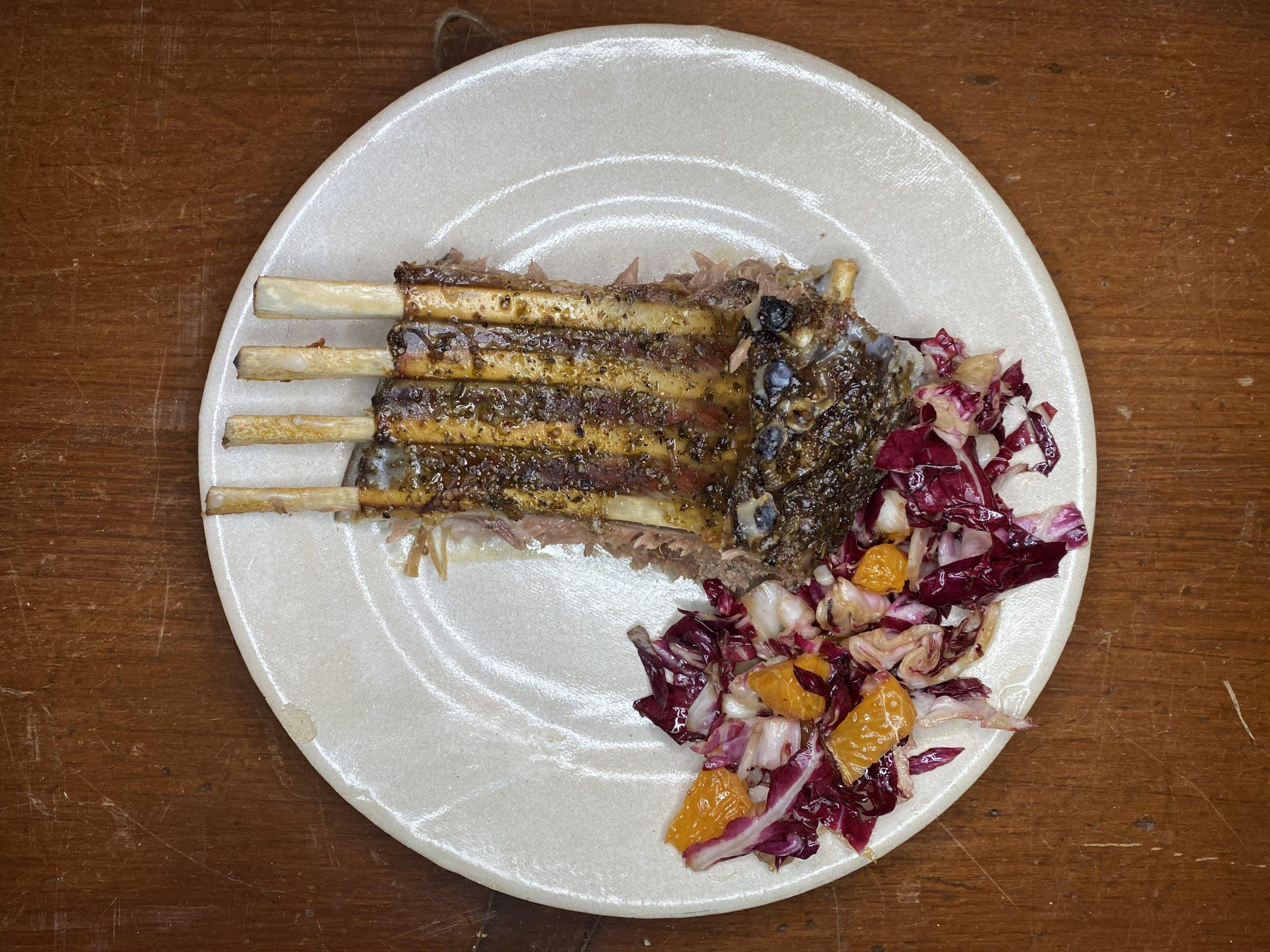 Rack of lamb on plate